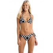 Costum de baie in doua piese Black White Diamond Slide Triangle Bikini marime S