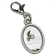 Graphics and More Mountain Bike Biking Antiqued Bracelet Pendant Zipper Pull Oval Charm with Lobster Clasp
