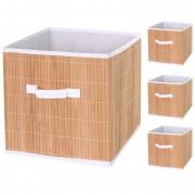 4x Faltbox HWC-C21, Korb Aufbewahrungskorb Ordnungsbox Sortierbox Aufbewahrungsbox, Bambus 32x32x32cm naturfarben ~ Variantenangebot