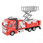 1:48 Scale Diecast Alloy Pull Back Fire Engine Rescue Truck Wrecker Vehicle Model Toy Interactive Construction Trucks Wrecking Car Toys for Preschool Kids Toddlers Girls Boys Age 3+ Birthday/Xmas Gift