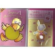2 Cartes Peluche - Joyeux Anniversaire Et Sinceres Felicitations - Motif Oiseau - Lapin - Carte Postale A 2 Volets 18 Cm Par 11 Cm + Enveloppes