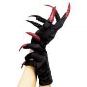 Smiffys Halloween horror handschoenen zwart met rode nagels