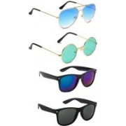 Elligator Aviator, Round, Wayfarer Sunglasses(Blue, Green, Black)