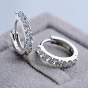 Cercei mici placati argint cu pietre zirconiu