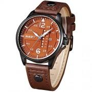 Dilwe Reloj Deportivo, Reloj de Cuarzo con Pantalla analógica Impermeable, 5 Colores, Hombre, Calendario de Moda, con Correa de Cuero Ajustable de PU(Café + Negro)
