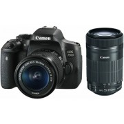 Aparat Foto DSLR Canon EOS 750D + EF-S 18-55mm + 55-250mm, Filmare Full HD, 24.2 MP (Negru)