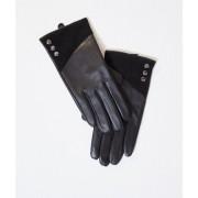 Etam Gants en cuir lisse et daim - ERYN - L - Noir - Femme - Etam