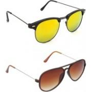 Hrinkar Round Sunglasses(Golden, Brown)