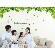 Walltola Pvc Early Summer Green Leaves Wall Sticker (24X35 Inch)