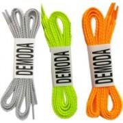 DE'MODA Flat (Pack of 3-Grey,Neongreen,Orange) Shoe Lace(Multicolor Set of 3)