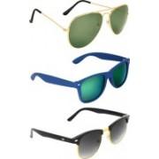Zyaden Aviator, Wayfarer, Clubmaster Sunglasses(Green, Multicolor, Black)