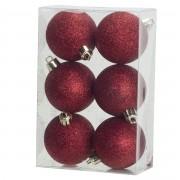 Cosy & Trendy 6x Rode glitter kerstballen 6 cm kunststof - kerstversiering - Kerstbal