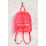 Forever21 Faux Leather Trim Clear Backpack Pink