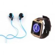Mirza DZ09 Smartwatch and Jogger Bluetooth Headphone for LG OPTIMUS IT(DZ09 Smart Watch With 4G Sim Card Memory Card| Jogger Bluetooth Headphone)