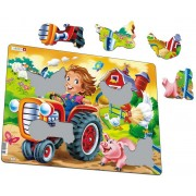 Puzzle Larsen - Farm Kid with Tractor, 15 piese (50879)