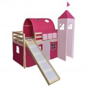 vidaXL Loftsäng med rutchkana och stege trä rosa