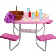 Set de joaca Barbie, Picnic masa in gradina cu 12 accesorii
