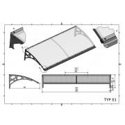 Zadaszenie drzwiowe typ E1 200x95 cm