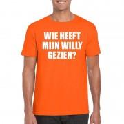 Shoppartners Oranje Wie heeft mijn Willy gezien shirt heren