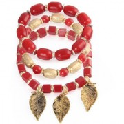 Om Jewells Stylish Multi Layer Charms Bracelet made with Exotic Beads for Girls and Women BR1000018RED