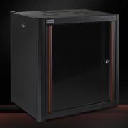 RACK, MIRSAN MR.WTN12U45.01, Сървърен шкаф за мрежово оборудване, 600 x 450 x 645 мм / 12U, черен, за стена