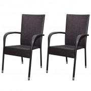 vidaXL Градински трапезни столове, 2 бр, полиратан, кафяви