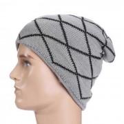 estilo hip-hop al aire libre patron de rayas de moda del sombrero del casquillo de punto - gris