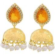 Maayra Women Earrings Wedding Festival Copper Jhumki Orange White Pearl Metal Carving Jewellery