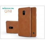 Samsung A730F Galaxy A8 Plus (2018) oldalra nyíló flipes tok - Nillkin Qin - barna