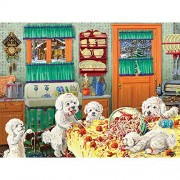 Bits and Pieces - 300 Large Piece Jigsaw Puzzle for Adults - Dog Gone Good Pasta - 300 pc Puppies Eating Spaghetti and Meatballs Jigsaw by Artist Joseph Burgess