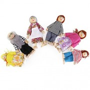 Pixnor 6Pcs Wooden Doll Family Happy Figures Including Grandparents for Kids Fun Role Playing