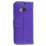 Synthetic Leather Wallet Case with Stand for HTC One M8 - HTC Leather Wallet Case (Purple)