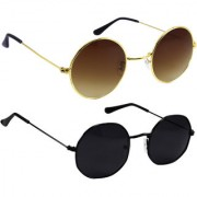 Derry Combo Of Bronze-Gold And Black Sunglasses