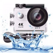 SHIFENX HD1080P 12MP 2 Pulgadas de Pantalla LCD de la cámara de WiFi Deportes, 170 Grados de la Lente H9 4K Ultra Gran Angular, 30m Impermeable Durable (Color : White)