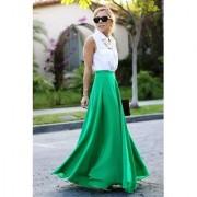 Raabta Fashion Green Plain Flared Skirt For Women