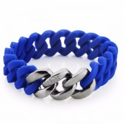 The Rubz Natural Silicone 15mm Unisex Bracelet Cobalt & Antique Silver