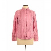 Liz Claiborne Long Sleeve Button Down Shirt: Pink Print Tops - Size 8