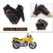 AutoStark Gloves KTM Bike Riding Gloves Orange and Black Riding Gloves Free Size For Hero Karizma