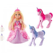 Set papusa Chelsea cu doi baby unicorni Barbie Dreamtopia