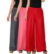 Culture the Dignity Women's Rayon Solid Palazzo Pants Palazzo Trousers Combo of 3 - Grey - Baby Pink - Red - C_RPZ_G1P2R - Pack of 3 - Free Size