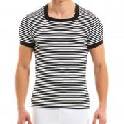Modus Vivendi Marine S Stripe Square Neck Shirt Short Sleeved T Shirt Black 10842