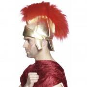 Romeinse hoed met rode veren