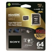 Памет Sony 64GB Micro SD,class 10, Super High Speed, 95MB/sec read, 50MB/sec write/ SR64UXA