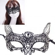 Halloween Masquerade Party Dance Sexy Lady Lace Cat King Mask (Black) -HC5946B