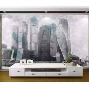 MIWEI Wallpaper Papel Tapiz 3D Edificio De Oficinas De La Pared De Fondo Pintados A Mano Murales Para Pared 3D Efecto Papel Pintado Personalizado Mural