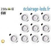 Kit 10 Spots LED GU10 Blanc chaud encastrable blanc orientable Perçage 70mm Ref Kgu10-12