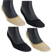 Nandini Premium Women 4 Pairs Cotton Low Cut Socks Printed Footies