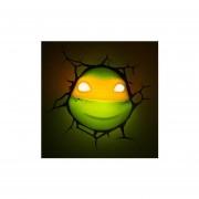 Lampara Decorativa Pared 3D Light Miguel Angel Cabeza Tortugas Ninja Nickelodeon-Verde