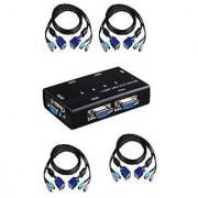 4 Port Ps/2 Kvm Switch W/4 Cable Sets - Compact Design