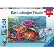 Puzzle Ravensburger - Aventura sirenei, 2 in 1, 2x24 piese